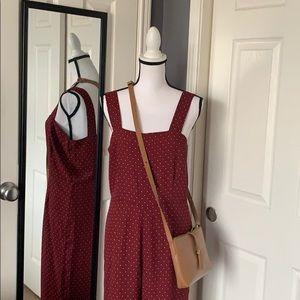 Burgundy print jumpsuit